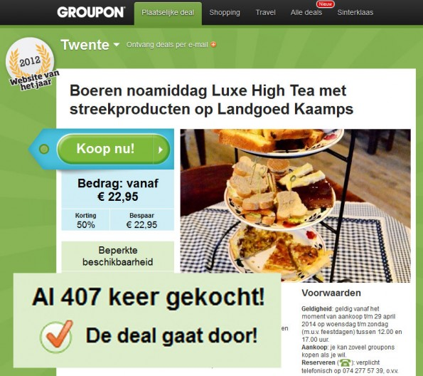 Sociaal proof Groupon